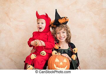 子供, 服を着せられる, ハロウィーンの衣装, 幸せ