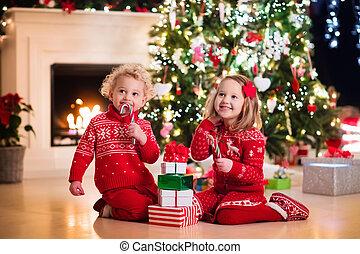 子供, 木, クリスマス, 下に