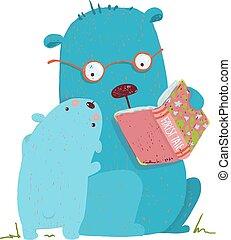 子供, 本, 熊, 親, 読書