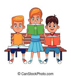 子供, 本, 若い, ベンチ