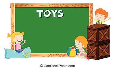 子供, 板, テンプレート, 幸せ