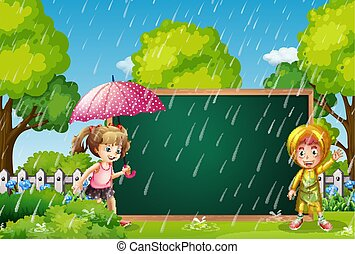 子供, 板, 雨, テンプレート
