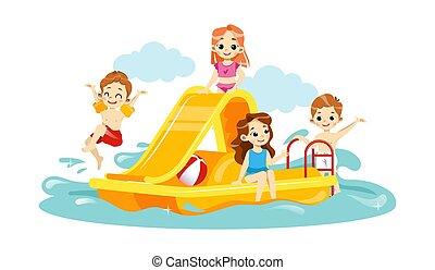 子供, 楽しむ, slide., 漫画, aquapark., 遊び, waterpark, スタイル, 概念, 水, 子供, 平ら, 夏, 朗らかである, レジャー, の間, ベクトル, 幸せ, vacations., イラスト, 一緒に