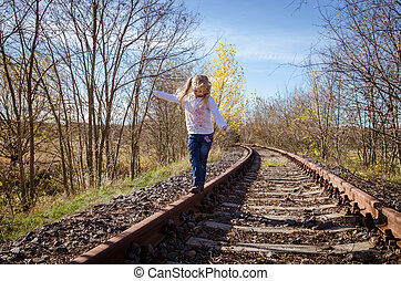 子供, 歩くこと, 上に, 柵