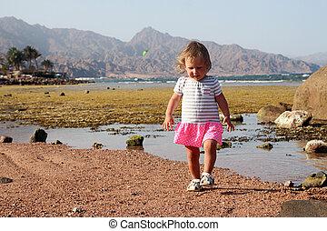 子供, 歩くこと, 上に, 海岸