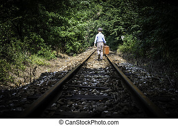 子供, 歩くこと, 上に, 鉄道