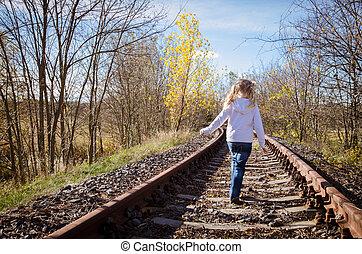 子供, 歩くこと, 中に, 鉄道