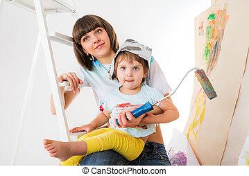 子供, 段ばしご, モデル, 小さい, 女