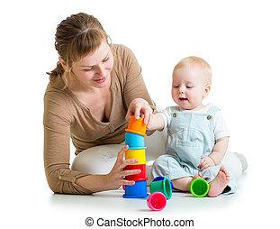 子供, 母親遊び, 一緒に, おもちゃ