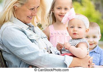 子供, 母, 公園, 若い, コーカサス人
