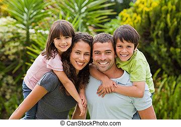 子供, 母, 父, 寄付, piggyback