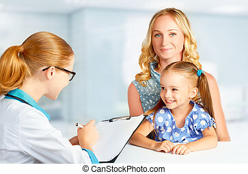 子供, 母, 訪問, 小児科医, 医者