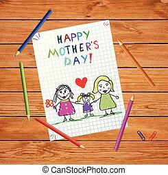 子供, 母, drawing., family., lgbt, 赤ん坊, 日, 幸せ