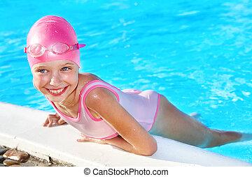 子供, 水泳, pool.