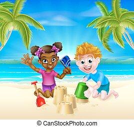 子供, 浜, 漫画