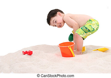 子供, 浜, 男の子