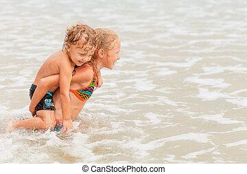子供, 浜, 遊び, 幸せ