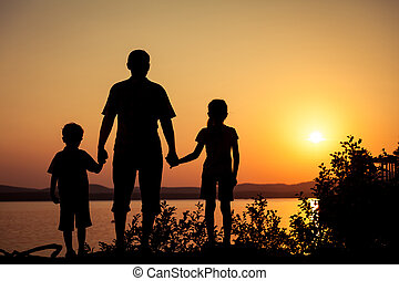 子供, 海岸, 父, 湖, 遊び