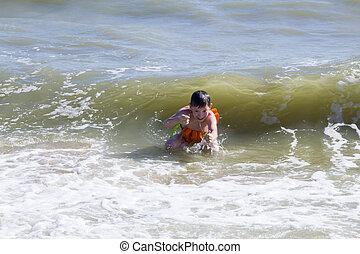 子供, 海, 水泳