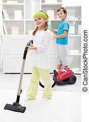 子供, 清掃, 部屋