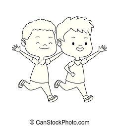 子供, 漫画, アイコン, 平ら, デザイン, 動くこと
