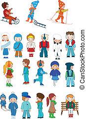 子供, 漫画, セット, 冬