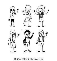 子供, 漫画, 手, 図画, イラスト, デザイン