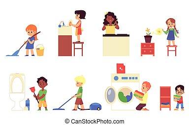 子供, -, 漫画, 料理, 清掃, 世帯, 皿, 雑用, 洗浄