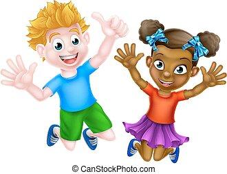 子供, 漫画, 跳躍, 幸せ
