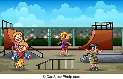 子供, 漫画, 遊び, skatepark
