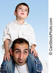 子供, 父, 肩, モデル
