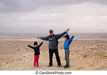 子供, 父, 2, ハイキング, 砂漠