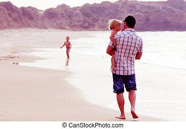 子供, 父, 2, 休暇, 色, 日没, 海