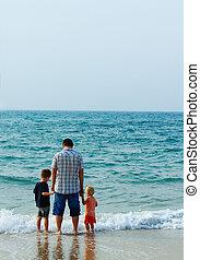 子供, 父, 2, 海, 休暇