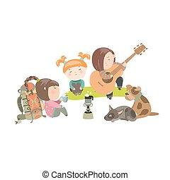 子供, 犬, キャンプ 旅行