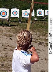 子供, 狙いを定める, 弓
