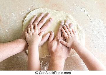 子供, 生地, お父さん, 手
