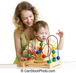 子供, 男の子, そして, お母さん, 演劇との, 色, 教育 おもちゃ