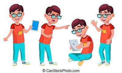 子供, 男の子, ポーズを取る, セット, positive., 葉書, 発表, 学生, educate., カバー, 予備選挙, イラスト, 隔離された, 学校, vector., activity., 男生徒, 子供, 漫画, child., design.