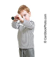 子供, 男の子, 前途を考える, ∥で∥, 望遠鏡, 隔離された