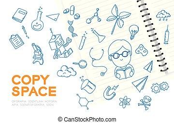 """子供, 男の子, 概念, """"scientist"""", セット, 未来, スペース, 隔離された, ノート, 考え, 背景, イラスト, 手, 想像しなさい, 白, コピー, 図画, 職業"""