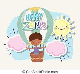 子供, 男の子, 飛行, 空気, 地域, かわいい, 暑い, わずかしか, balloon