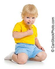 子供, 男の子, 食べること, アイスクリーム, 隔離された, 白