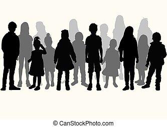 子供, 白, シルエット, ベクトル, バックグラウンド。