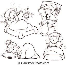 子供, 睡眠, の上, 目覚めること
