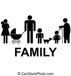 子供, 祖父母, アイコン, 家族, 親