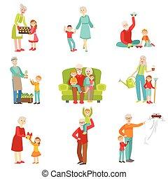 子供, 祖父母, 一緒に, 楽しみ, セット, イラスト, 持つこと