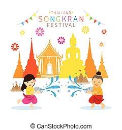 子供, 祝祭, 寺院, 水, songkran, 遊び