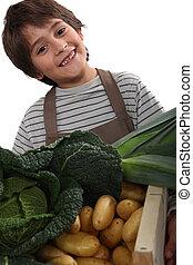 子供 立つこと, の後ろ, 野菜