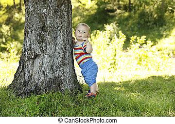 子供 立つこと, 中に, 自然